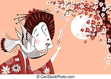 Japanese woman in traditional clothes with birdVector...