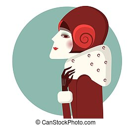 Vintage woman portrait in fashion hat and winter coat
