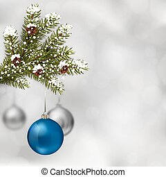 Blue and silver Christmas balls