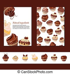 Template with chocolate muffins. For your design,...