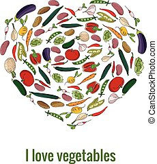 Shape heart made of fresh vegetables