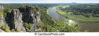 Elbe sandstone mountains - View from Bastei to river Elbe in...