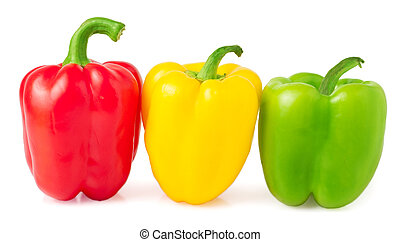 Red, yellow and green bell peppers on a white background