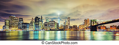 Panoramic view of Manhattan at night