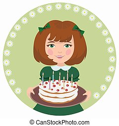 girl with sweet cake - A girl celebrates a happy birthday...