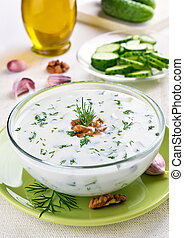 Bulgarian summer soup with yogurt, cucumbers, dill and...
