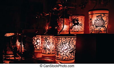 Some included christmas night lamps in the dark room.