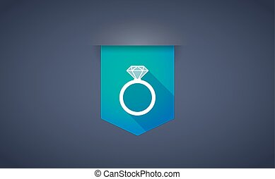 Long shadow ribbon icon with an engagement ring