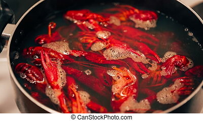 Crayfish are boiled in a pot. Close up video.