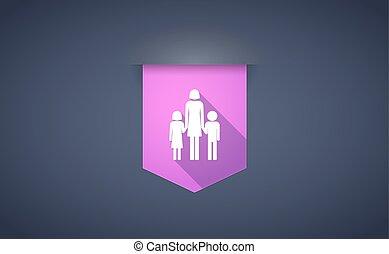 largo, sombra, cinta, icono, con, Un, hembra, solo, padre,...