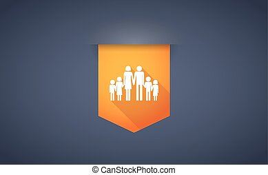 Long shadow ribbon icon with a large family pictogram -...