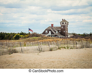 Sandy Hook Seascape - A scenic view on Sandy Hook along the...