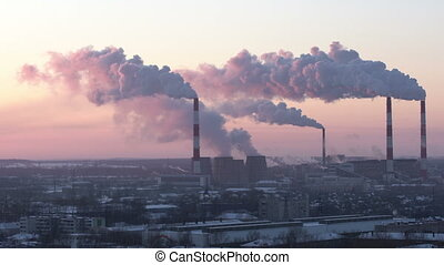 View of urban industrial sector in morning - View of urban...