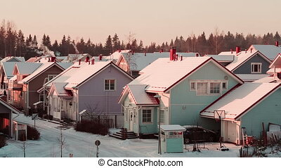 Beautiful cozy color houses in Finland. - Beautiful cozy...