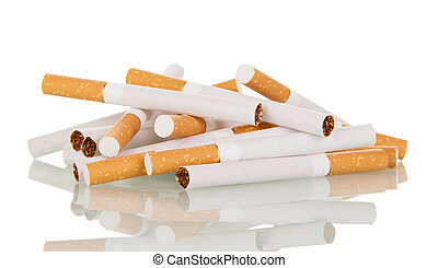 pile of cigarettes close-up isolated on white - A pile of...