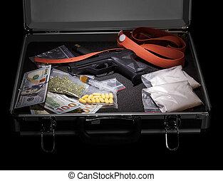 dinero, negro, drogas, arma de fuego, maleta