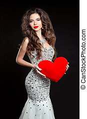 Beautiful sexy brunette Woman present red heart, Valentines...
