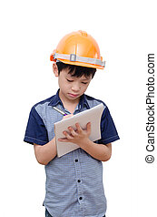 Little boy with helmet - Little Asian boy with helmet wrting...