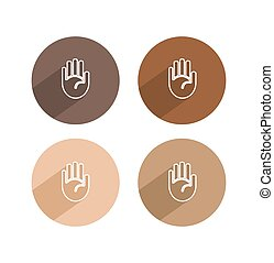 Vector hand palm icon with long shadow
