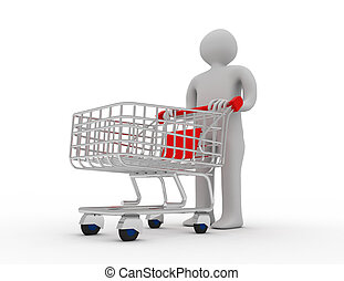 Man pushing a shopping cart empty