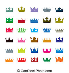 Set of color crowns. Vector Icons