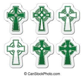 irisch, schottische, keltisch, Kreuz, auf, whi,