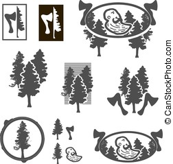 Logo or emblem with trees or forest ranger.
