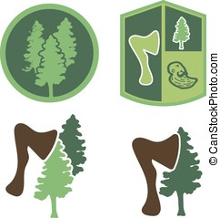 Green logo with wood, an ax, a forester - Logo or emblem...