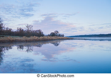 Oder River at dawn - Oder River (between Germany and Poland)...