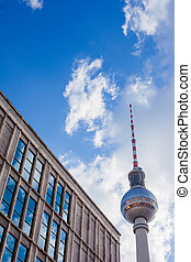 Fernsehturm, Berlin Alexanderplatz - Fernsehturm TV tower at...