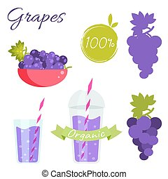 Grapes fruit and juice vector set. - Grapes fruit and juice...