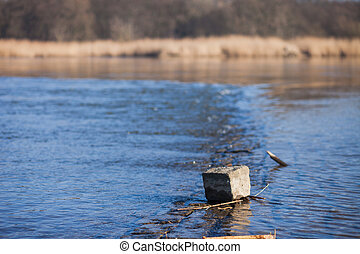 Oder River - Shore of the Oder River between Germany and...