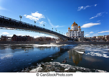Moscow, Christ the Savior Cathedral and Patriarchal Bridge...