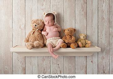 Newborn Baby Boy on a Shelf with Teddy Bears - Three week...