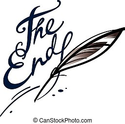The End - Ink inscription with goose feather - the end