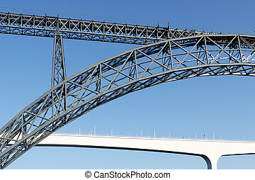 Briges of Porto, old and new architecture - Old iron Maria...