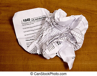 Crumpled Tax Form From Frustration