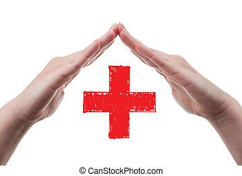 protezione, concetto, croce, rosso, mani