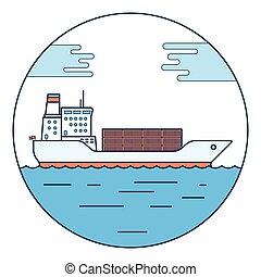 big dry cargo ship, Vector image - Cargo container ship...