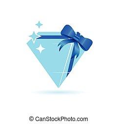diamond blue vector with bow