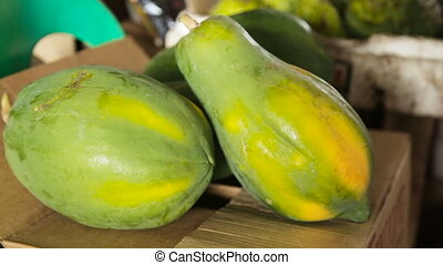 Papaya fruit in the market - Fruit healthy, Ripe papaya at...