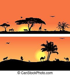 Vector banners with African fauna and flora - Collection of...