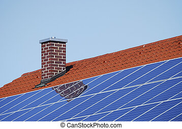 Roof with photovoltaic cells