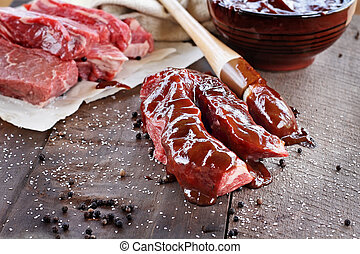 carne de vaca, costillas, y, barbacoa, salsa,