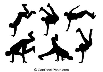 Hip hop - Silhouette of young man dance Hip-hop with white...