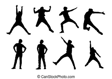 Silhouette of man jump