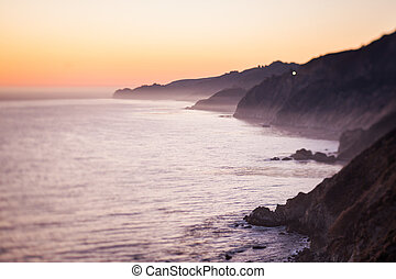 Ocean mist off the California coast - A low layer of fog off...