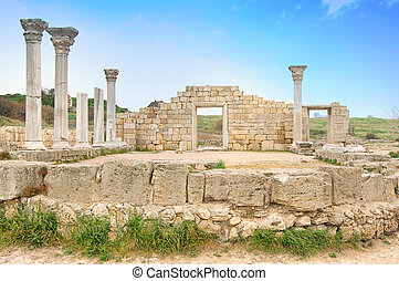 Ancient basilica columns of Creek colony Chersonesos,...