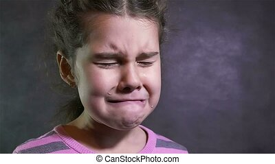 girl cries flow tears portrait problems teen under stress -...