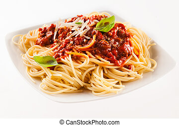 Fettuccine noodles with Bolognaise sauce - Serving of...